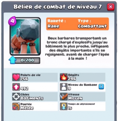 Belier combat nouvelle carte rare clash royale sneak peek