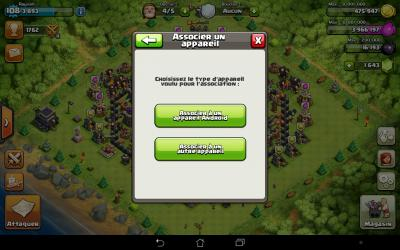 Clash of clans associer un appareil android iphone
