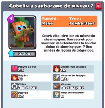 Gobelin sarbacane nouvelle carte rare clash royale sneak peek