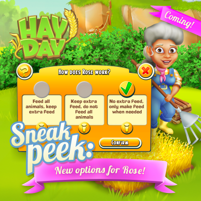 Sneak peek hay day nouvelle option ouvrier agricole rose
