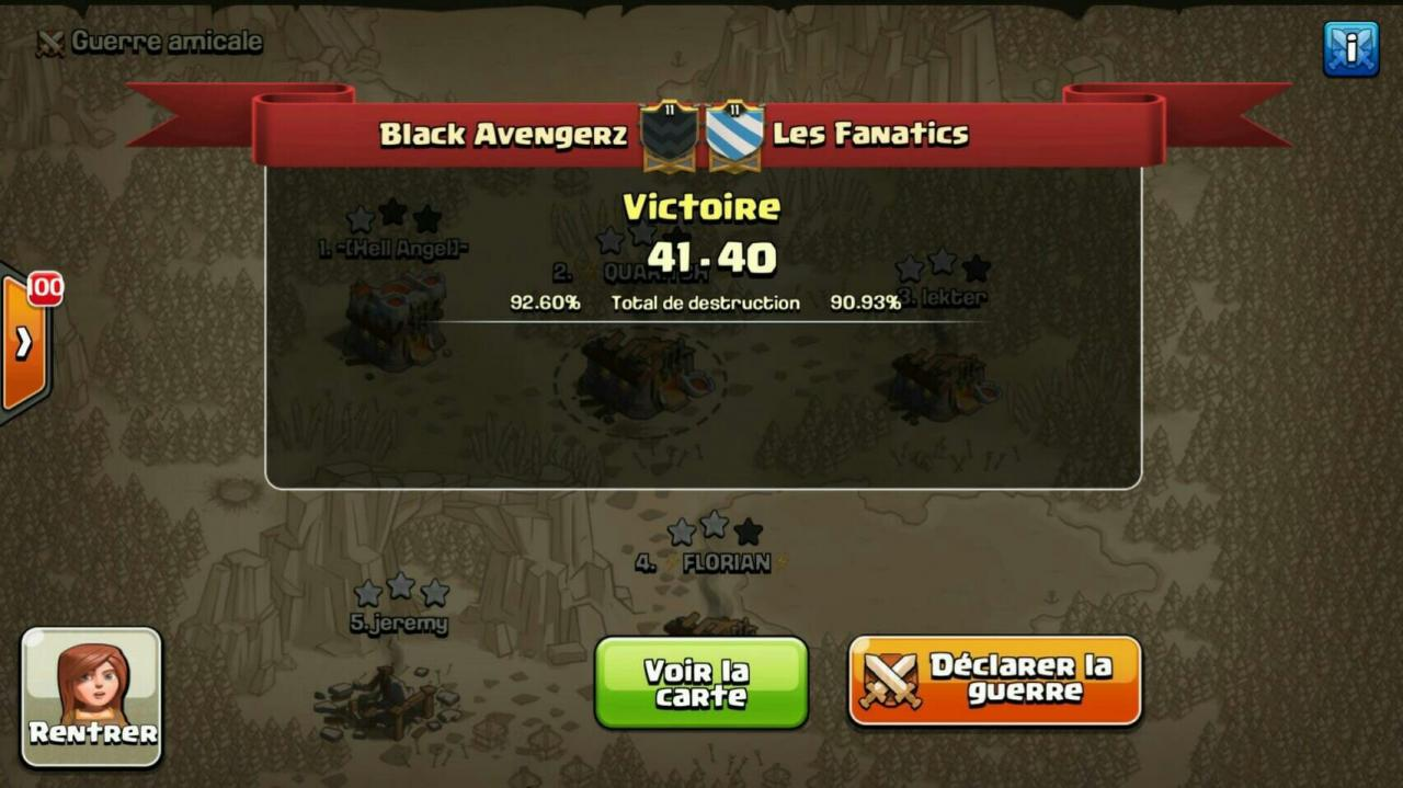 Black Avengerz vs Les Fanatics tournoi FF 2 CoC