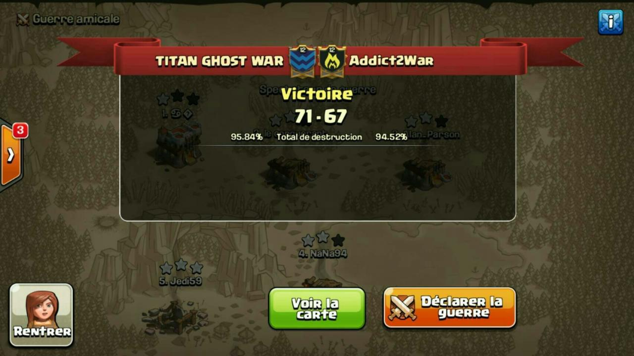 TITAN GHOST WAR vs Addict2War tournoi FF 2 CoC