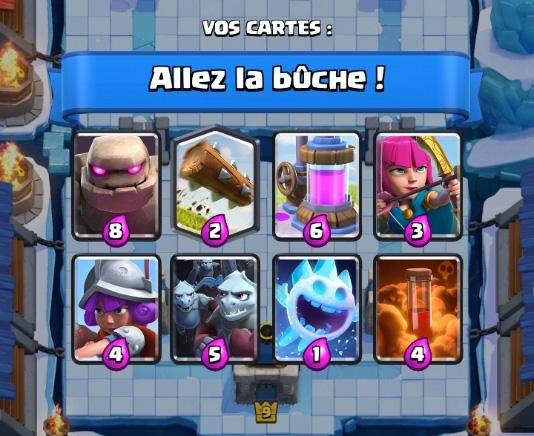 Allez la buche deck 2 coupe roi clash royale