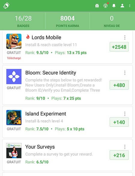 Appkarma offre disponible lords mobile
