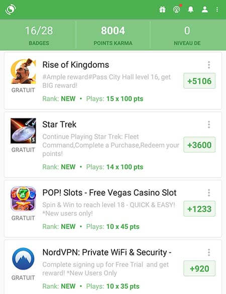 Appkarma offre disponible rise of kingdoms