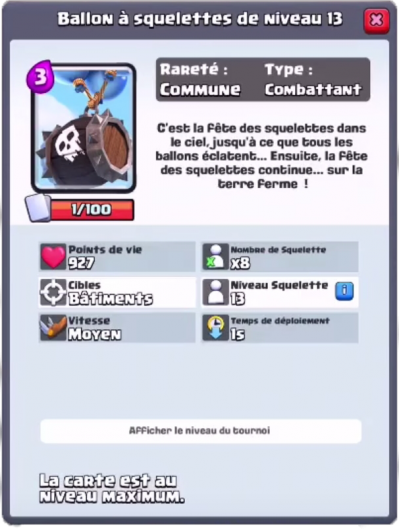 Ballon a squelettes nouvelle carte commune clash royale