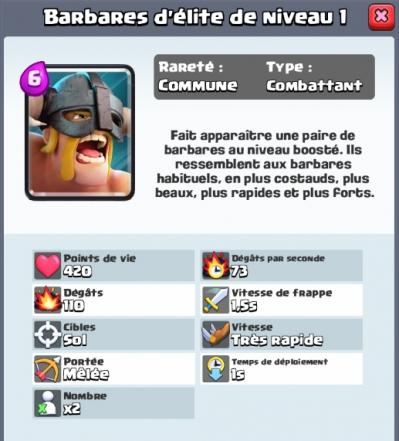 Barbares d elite nouvelle carte commune clash royale