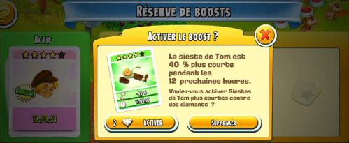 Boost vert activer reduction sieste tom capture hay day