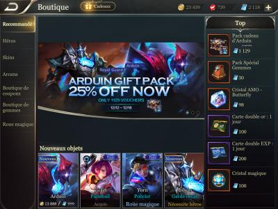 Boutique heros recommande arena of valor