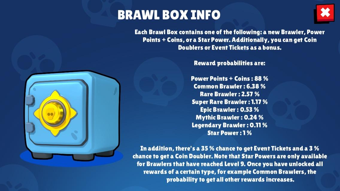 Brawl box info drop rate brawl stars