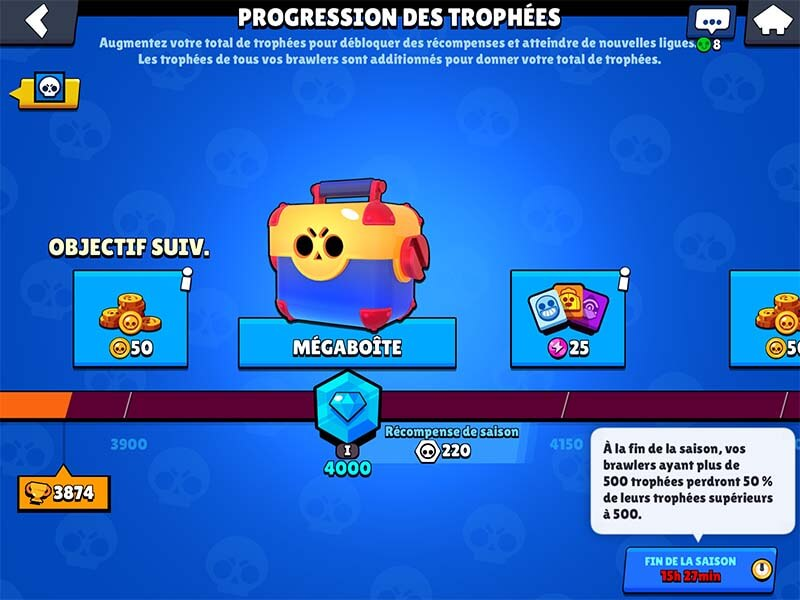 Brawl stars progression des trophees