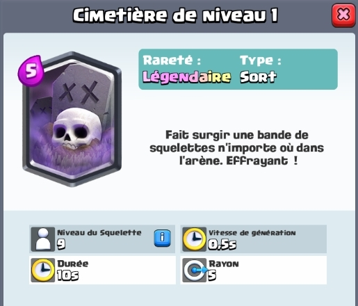 Cimetiere nouvelle carte legendaire clash royale