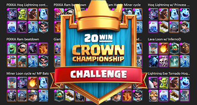 Deck 20 victoires defi crown championship clash royale