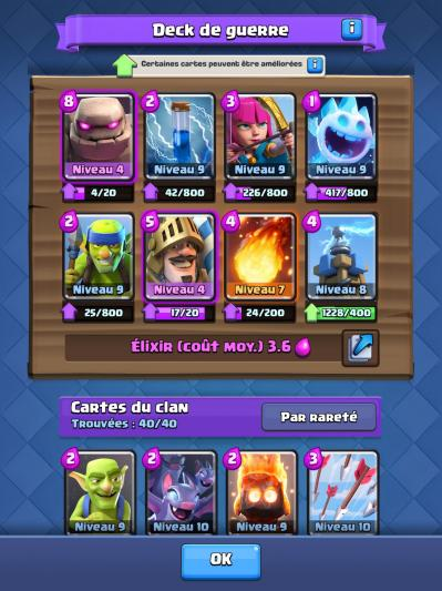 Deck de guerre clash royale