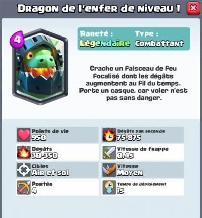 Dragon de l enfer nouvelle carte legendaire clash royale