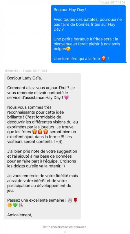 Frites hay day message support