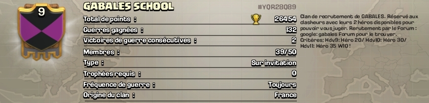 Gabales school coc fr blason description clan