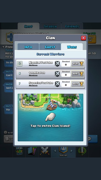 Guerre de clan menu clash royale