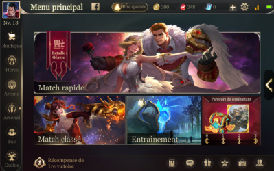Interface astuce debut screen arena of valor