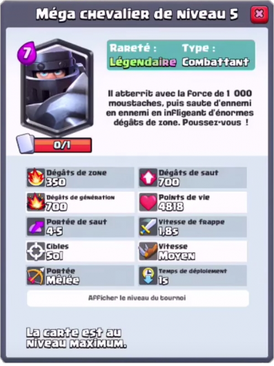 Mega chevalier nouvelle carte legendaire clash royale