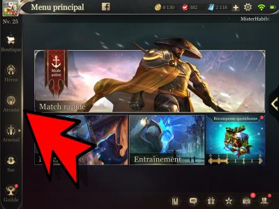 Menu arcana guide arena of valor