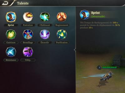 Menu talents arena of valor