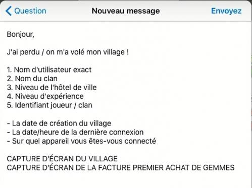 Message exemple support supercell compte perdu coc