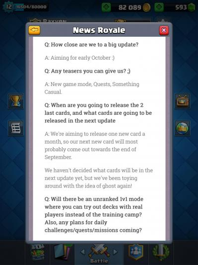 News clash royale mise a jour octobre 2