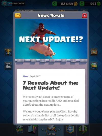 News clash royale mise a jour octobre