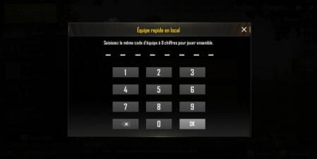 Pubg mobile code rejoindre equipe rapide en local