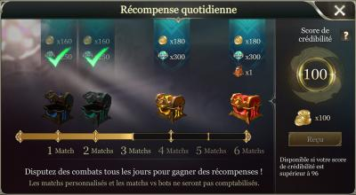 Recompense quotidienne arena of valor