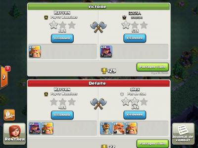 Regarder replay attaque base des ouvriers clash of clans