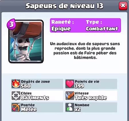 Sapeurs nouvelle carte clash royale