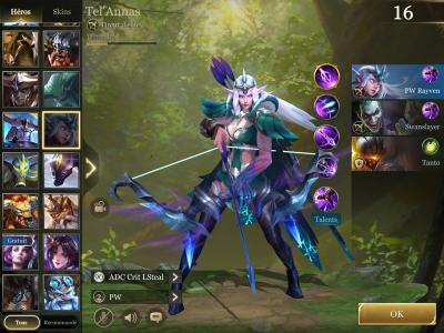 Selection des heros arena of valor