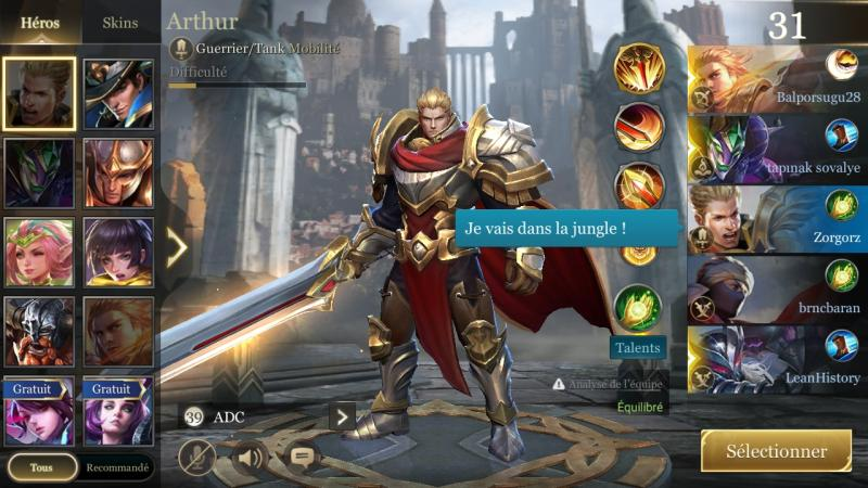 Selection heros arthur test aov