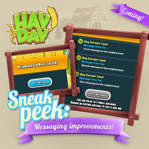 Sneak peek 1 message de voisinage maj octobre 2017 hay day