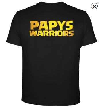 T shirt perso papys warriors clash of clans dos
