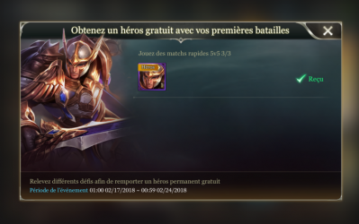 Thane heros match rapide astuce debut screen arena of valor