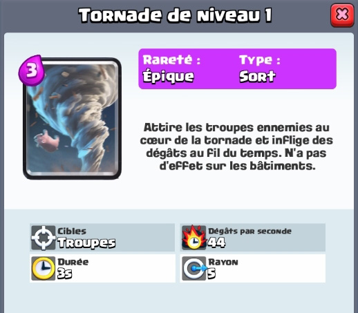Tornade nouvelle carte epique clash royale